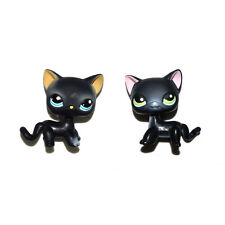 Littlest Pet Shop Cyan Eyes & Pink Ear Shor Hair Black Cat Kitty Figure Toy Set