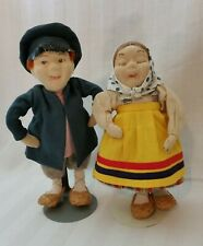 "Antique Ethnic Peasant Stockinette Face Russian Masha Dolls-""Vanika and Tanika"""
