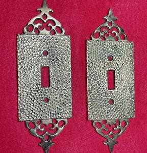 2 - Vintage - Solid Brass Ornate Light Switch Plates Made In Japan