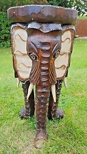 HAND CARVED ELEPHANT HEAD STOOL FROM INDONESIA