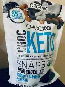 CHOCXO Organic KETO Snaps Dark chocolate+almonds+coconut+sea salt 14.8 oz