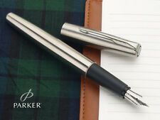 Parker Frontier Steel CT Chrome Trim Fountain Ink Pen Convertor Fine Nib New FP