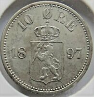 1897 NORWAY, Silver 10 Ore grading VERY FINE.