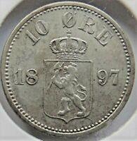 1897 NORWAY, Silver 10 Ore grading VERY FINE.
