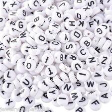 500 Mix Acryl Buchstaben Spacer Perlen Beads Rundflach Schwarz 7mm PD