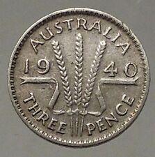1940 AUSTRALIA - Threepence SILVER Coin - UK King George VI Wheat Stalks i57828