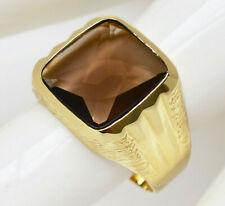 Herrenring Herren Ring 8 Karat 333 Gold 5,83 g Gelbgold Rauchquarz Gr. 67