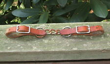 Western Horse Bridle Chain Curb Strap Oak Brown Leather Bit Ends & Buckles -Used