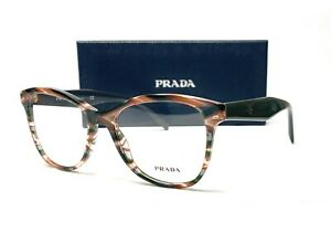 PRADA VPR 12T VAO-1O1 Sheaves Grey Brown Demo Lens Women's Eyeglasses 53mm