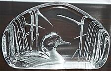RETRO SWEDEN MATS JONASSON SIGNED CRYSTAL GLASS DUCK BIRD PAPERWEIGHT