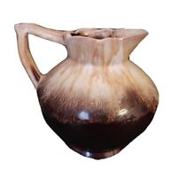 Pottery Small Pitcher Drip Glaze Two Toned Brown Drip Glaze Made In Japan
