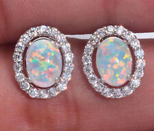 ***UK SELLER**Silver/Rhodium Plated WHITE LAB FIRE OPAL/TOPAZ Stud Earrings 13mm