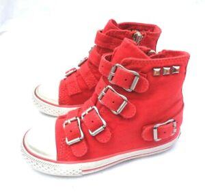 DESIGNER ASH GIRLS INFANT FLIP CORAL RED CANVAS ZIP FASTEN HI TRAINER UK7 UK8.5