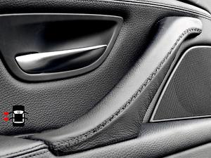 BMW 5 Series F10 F11 Door Trim Pull Handle Cover Passenger Left Black Leather