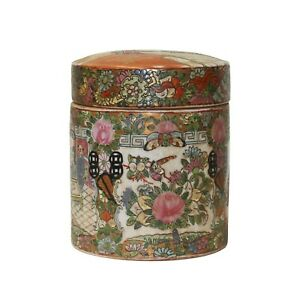 Chinese Oriental Porcelain People Scenery Round Shape Container Decor ws782