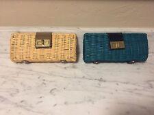 NWT Havana Clutch Purse Wallet Wicker Rattan J. Crew Gold Teal Wedding Hand Bag