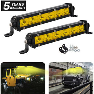 2x Yellow Ultra Slim 7'' INCH Single Row LED Work Light Bar For Car ATV Off road