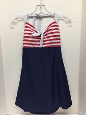 Retro Sailor Pin Up Swimsuit One Piece Swimdress Skirtini Navy Red White Large