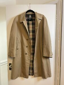 Vintage Burberry London Beige Long Trench Coat Mac Check Lined  UK 12