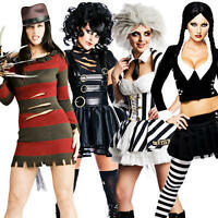 Ladies Halloween Film Costume + Tights Horror Movie Character Womens Fancy Dress