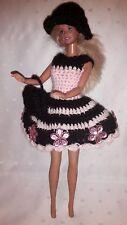 Puppenkleidung passend für Barbiepuppe,3tlg. Kleid,Tasche + Hut Handarbeit 6293