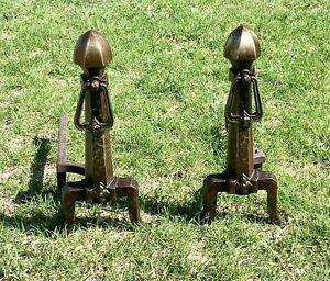 PAIR  c.1900 CAHILL ANTIQUE ANDIRONS FIREPLACE DOG ARTS & CRAFTS HAMMERED COPPER