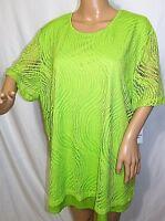 Southern Lady Women Plus Size 1x 2x Hi Lo Green Lined Mesh Top Blouse Shirt