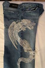 "VERY RARE £749 100% GENUINE VERSACE SILVER DRAGON EMBROIDERED JEANS - 36"", EU50"