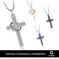 Halskette Edelstahl Kreuz Ring Gebet Inschrift Herren Damen Kugelkette Anhänger