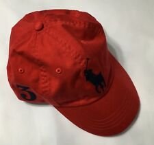 Polo Ralph Lauren Baseball Cap Hat Big Pony Adjustable Leather Strap Red NWT