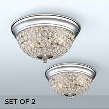 Ceiling Light Flush Mount Fixture Set of 2 Silver Crystal 11