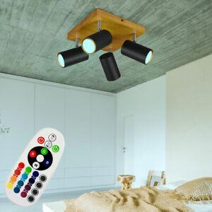 Plafonnier bois LED RGB REMOTE CONTROL salle à manger DIMMER spots pivotants