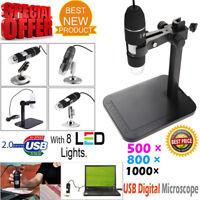 USB Microscope Endoscope 500X 800X 1000X 8LED 2MP Digital Magnifier Camera&Stand