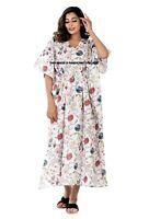Indien Imprimé Floral Long Caftan Taille Libre Tunique Vacances Robe Paréo Plage