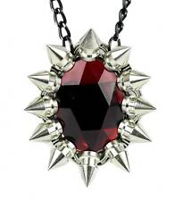 Large Red Stone Necklace w/ Chaos Star Spikes Anime Cosplay Alterantive Goth Emo