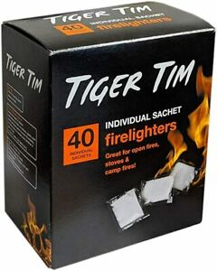 Tiger Tim Firelighters Quick Eco Barbecue Wood Burner Sachets Flame Quickfire