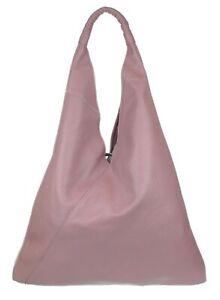 Italian Real Leather Handbag V Shape Top Interior Pocket String Shoulder Bag