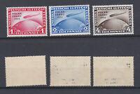 GERMAN REICH 1931 Zeppelin overprinted Polar-Fahrt Mint * C40-C42 (Mi.456-458)