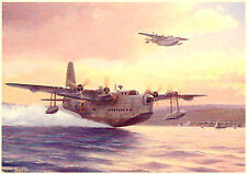 Sunderlands 1944 Flying Boat BELLISSIMO QUADRO DIPINTO POSTER Royal Air Force