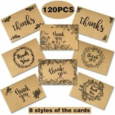 120x Thank You Cards with Envelopes Rustic Wedding Party Greeting Note Card
