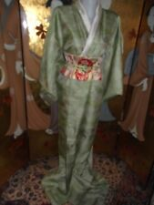 AUTHENTIC  VINTAGE JAPANESE  SILK KIMONO, TEA GREEN WITH PEOPLE