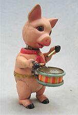 Vintage Wind Up Celluloid Drummer  Pig - Pre-War Japan