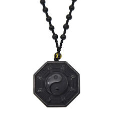 Obsidian Carved Yin Yang Ba Gua Pendant Necklace Lucky Amulet Jewelry Bead Chain