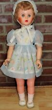 "VINTAGE 1950'S 31"" PLASTIC DOLL SHORT BLONDE HAIR BEAUTIFUL DRESS LEATHER SHOES"