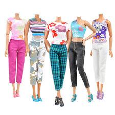 5PCS Handmade Doll Clothes Tops Blouse Pants Trousers for Barbie Dolls Random.