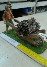 Pastore 10 cm con carriola legno miniature presepe crib shereped