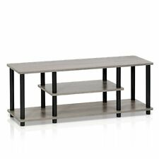 Turn-N-Tube 3-Tier Entertainment TV Stand, French Oak Grey/Black