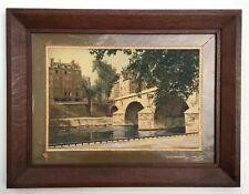 Photographie ancienne rehaussée à la gouache, Paris, Berges de Seine, Début XXe