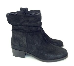 NEXT WIDE FIT LADIES BLACK ANKLE BOOTS - SIZE UK 4 EU 37 - Distressed Suede