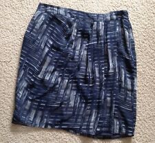 Ann Taylor Loft Faux Wrap Skirt~Ladies Sz. 6~Navy Taupe~Fully Lined